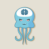 Vector flat and evil jellyfish at the bottom of the ocean Royalty Free Stock Photo