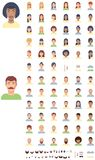 Vector flat faces icon set Royalty Free Stock Images