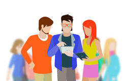Vector flat fashionable young people with tablets Stock Images
