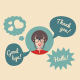 Vector flat female round icon with speech bubbles and text Hello, Good bye, Thank you. Royalty Free Stock Photo