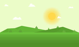 Vector flat field and mountain landscape Stock Images