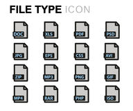 Vector flat file type icons set Stock Images
