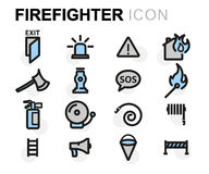 Vector flat firefighter icons set Royalty Free Stock Photography