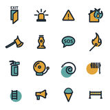 Vector flat firefighter icons set. On white background Royalty Free Stock Photography