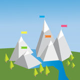 Vector flat flag on mountain. Choose you way. Mission. Success illustration. Wild nature. Mountain landscape. Camping and climbing Stock Images