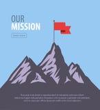 Vector flat flag on mountain. Success illustration. Goal achievement. Business concept Royalty Free Stock Photos