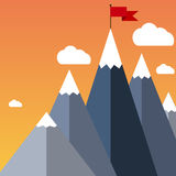 Vector flat flag on mountain. Success illustration. Stock Photo