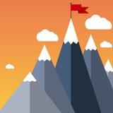 Vector flat flag on mountain. Success illustration. Stock Photo