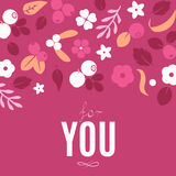 Vector flat flowers and berries background, creative color pattern. Stock Images