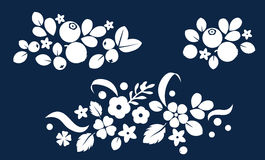 Vector flat flowers and berries background, creative color pattern. Royalty Free Stock Image