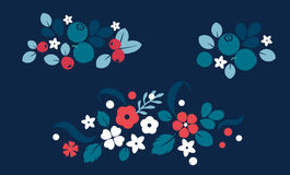 Vector flat flowers and berries background, creative color pattern. Stock Image