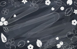 Vector flat flowers and berries frame background, creative color pattern. Royalty Free Stock Image