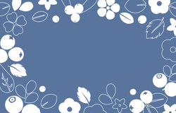 Vector flat flowers and berries frame background, creative color pattern. Stock Image