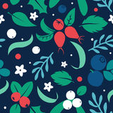 Vector flat flowers and berries, seamless creative pattern. Royalty Free Stock Images
