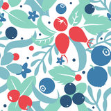 Vector flat flowers and berries, seamless creative pattern. Royalty Free Stock Photo