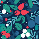 Vector flat flowers and berries, seamless creative pattern. Stock Photography