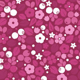 Vector flat flowers and berries, seamless creative pattern. Royalty Free Stock Photos