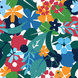 Vector flat flowers, seamless floral pattern. Royalty Free Stock Photo