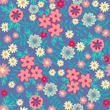Vector Flat flowers Seamless pattern background Abstract floral elements seamless pattern. Vector sketch ready for royalty free illustration