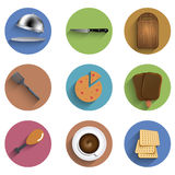 Vector flat food circle icon set. Eps10 Stock Image