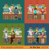 Vector flat friends in bar counter and barman drink alcohol beer Royalty Free Stock Images