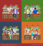 Vector flat friends in bar counter and barman drink alcohol beer Royalty Free Stock Photo