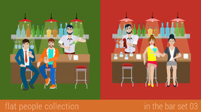 Vector flat friends in the bar counter drink cocktail Stock Photo