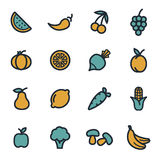 Vector flat fruit and vegetables icons set. On white background Stock Image