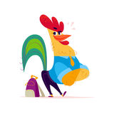 Vector flat funny rooster student character standing  on white background. Stock Photography