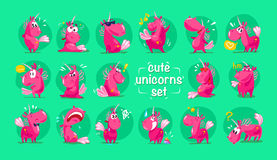 Vector flat funny unicorn characters collection isolated on green background. Royalty Free Stock Photo