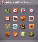 Vector flat gambling  icons Royalty Free Stock Images