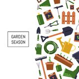 Vector flat gardening icons background illustration stock illustration