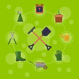 Vector flat gardening icons infographic royalty free illustration