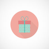 Vector flat gift icon. Vector round icon of gift box in flat style stock illustration