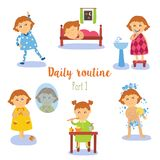 Vector flat cartoon kid doing routine activity set Stock Photo