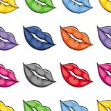 Vector flat girl lips colored seamless pattern Royalty Free Stock Photos