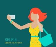 Vector flat girl making selfie Stock Photo