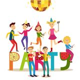 Vector flat girls and boys at friends party. Vector flat girls, young men in party hat holding alcohol coctail drink in glass pizza dancing on party letters stock illustration