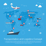 Vector flat global transportation concept Royalty Free Stock Image