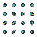 Vector flat globe icons set. On white background Stock Photos