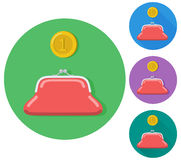 Vector flat gold coin with a purse icon. Flat icon on buttons Stock Images