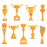 Vector flat golden goblet icon set in flat style. Winner award.  Golden trophy Stock Photo