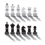 Vector flat graphic chess pieces with long shadows, isolated on white. Royalty Free Stock Photos