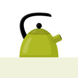 Vector Flat Green Kettle Illustration. Vector flat style illustration of green kettle with highlights and shadows Royalty Free Stock Photo