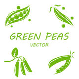 Vector flat green peas icons set Stock Photography