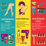Vector flat hair removal tools posters set. Vector flat hair removal banners set. Electric epilator, shaver, shaving razor, waxing strips, hot wax in bowl laser Stock Photos