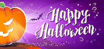 Vector flat halloween card, advertisement, banner, poster, placard, party invitation, flayer design. Stock Photography