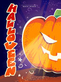 Vector flat halloween card, advertisement, banner, poster, placard, party invitation, flayer design. Royalty Free Stock Photography