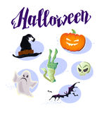 Vector flat halloween card, banner, poster, placard, party invitation, flayer design elements. Stock Images