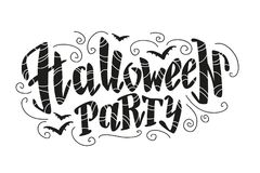 Vector flat halloween lettering quote design with doodle elements isolated on white background. Stock Photo